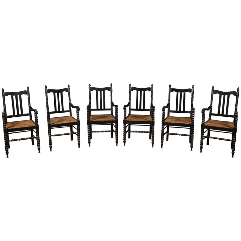 Set of Six Ebonized Bobbin Turned Splat Back Armchairs Dining Chairs