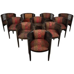 Set of Ten Art Deco Ebonized Tub Chairs from a Hotel in Bombay
