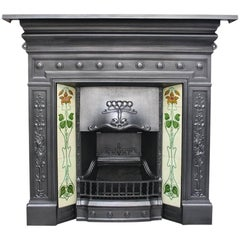 Edwardian Cast Iron and Tiled Combination Fireplace in the Art Nouveau Manner