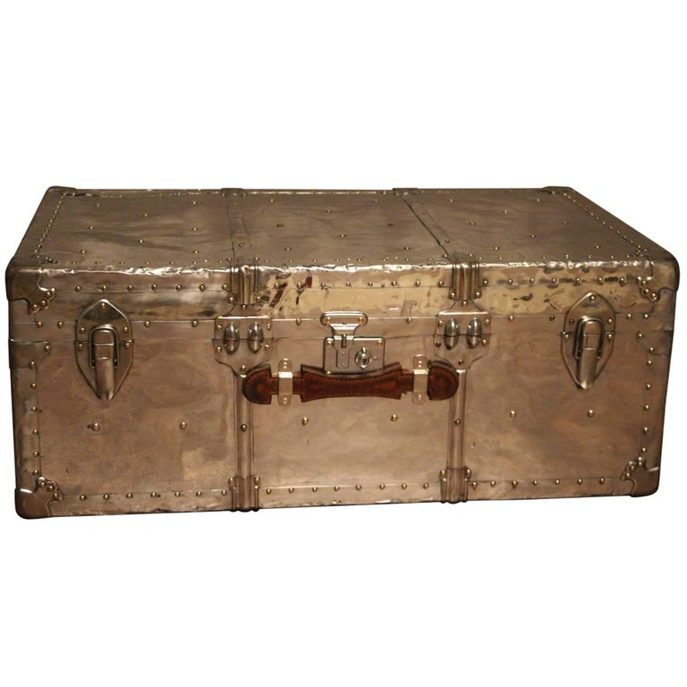 1940s Polished Aluminum Steamer Trunk