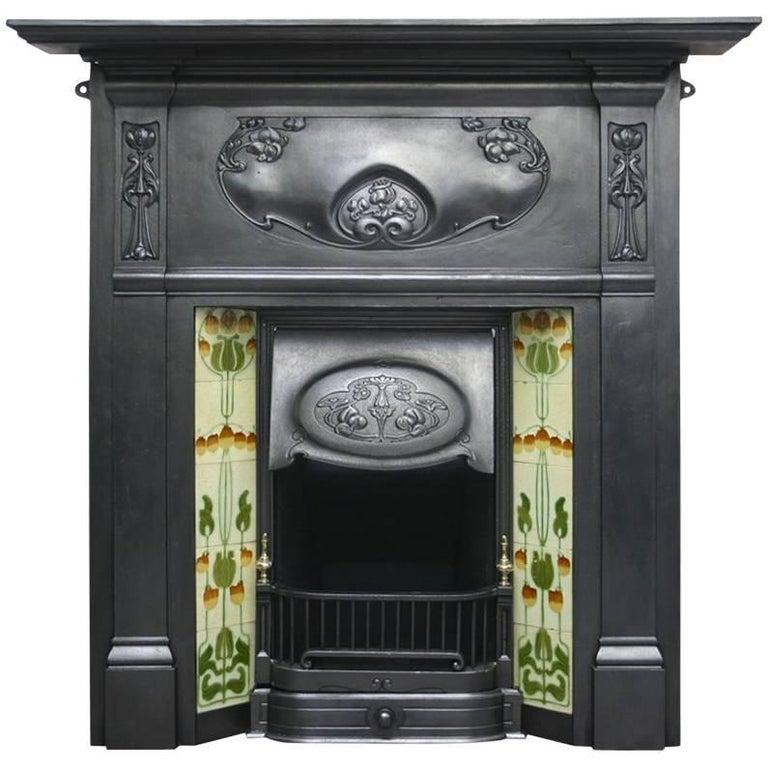Antique Vintage Bedroom Fireplace: Antique Edwardian Cast Iron Art Nouveau Bedroom Fireplace For Sale At 1stdibs