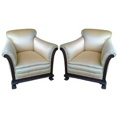 Pair of Late 19th Century Impressive Deep Armchairs