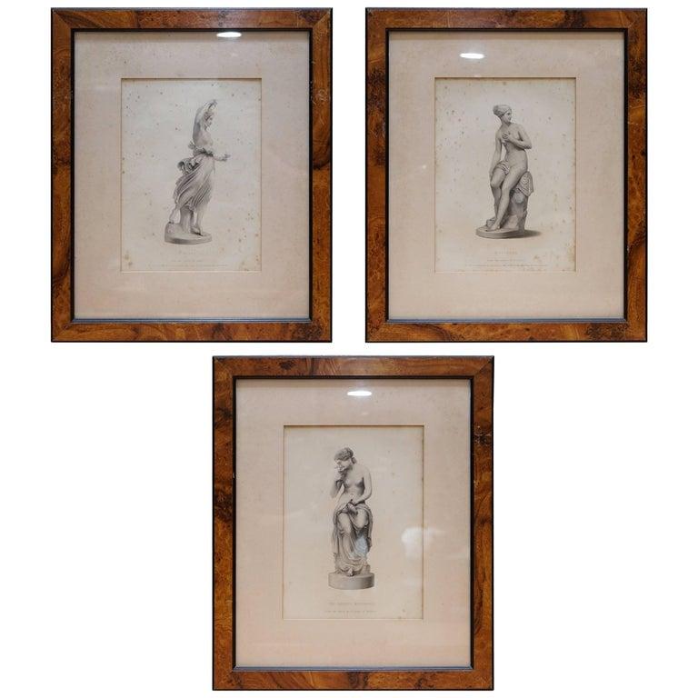 Set of Three Original Antique Art Nouveau French Prints of Statues Musidora Hebe