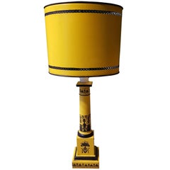 Early 20th Century French Yellow and Black Directoire Style Lamp Made of Metal