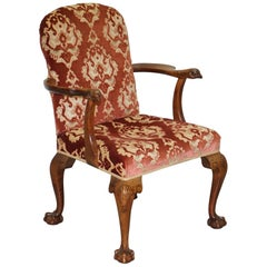 George III Chippendale Style Library Armchair Claw & Ball Legs Hawk Carved Arms