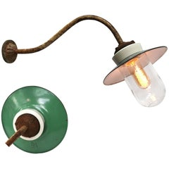 Ocean Green Enamel Porcelain Glass Cast Iron Vintage Industrial Wall Light