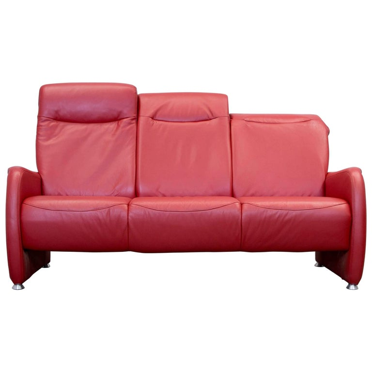 ewald schillig designer three seat couch leather red couch modern for sale at 1stdibs. Black Bedroom Furniture Sets. Home Design Ideas