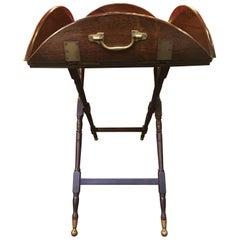 Enviable Antique English Mahogany Tray on Stand