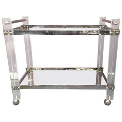 Movie Star Mid-Century Modern Lucite, Chrome and Mirrored Bar Cart