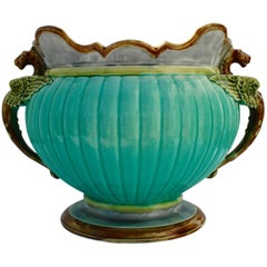Art Nouveau Majolica Glazed Jardiniere with Flying Dragon Handles, circa 1920