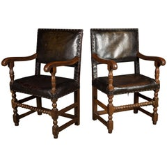 Pair of 17th Century Studded Leather Bobbin Turned Wide Oak Seats
