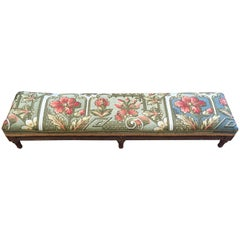 Rare Gorgeous Antique French Footstool Bench with Intricate Beadwork Upholstery