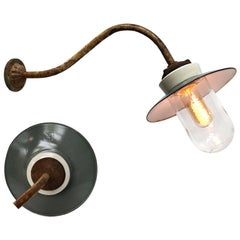 Grey Enamel Porcelain Glass Cast Iron Vintage Industrial Wall Lights (3x)