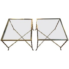 Pair of French Faux Bamboo Brass End or Cocktail Tables
