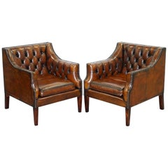 Pair of George Smith Chesterfield Armchairs in Brown Leather