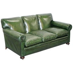 Stunning Victorian Green Leather Maple & Co the Hever Three-Seat Club Sofa