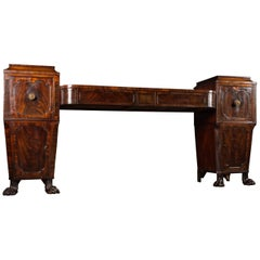 Regency Flame Mahogany Pedestal Sideboard with Lions Paw Feet
