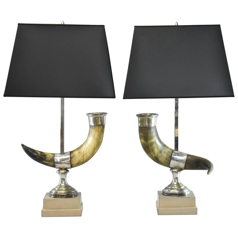 Pair of Natural Long Horn Steer Table Lamps