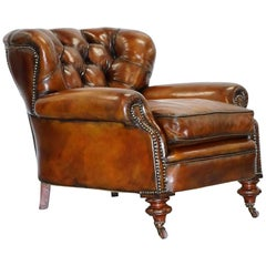 Fully Restored Chesterfield Victorian Club Armchair New Leather Hand Dyed