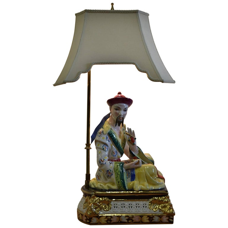 Midcentury Italian Hand Painted Ceramic Table Lamp
