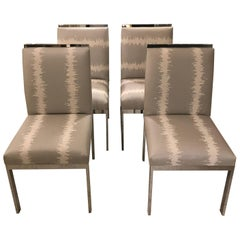 Set of Four Chrome High Back Chairs