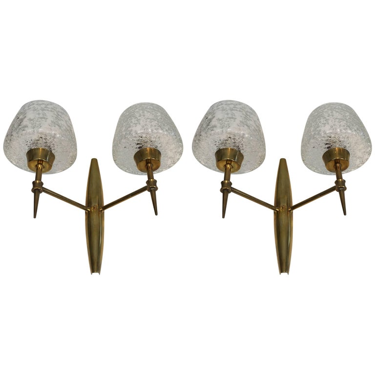 Pair of Italian Mid-Century Modern Sconces Attributed to Stilnovo