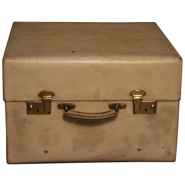 1920s Small Beige Vellum Steamer Trunk by Drew and Son Picadilly