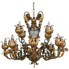 French 1940s Parcel-Gilt Chandelier