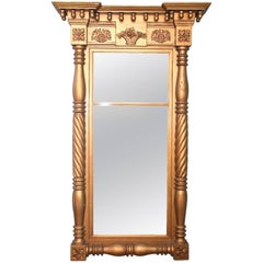 Federal Gilt and Carved Looking Glass Mirror