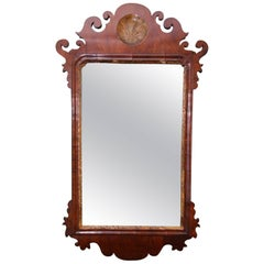 Queen Anne Mahogany Mirror with Scalloped Crest