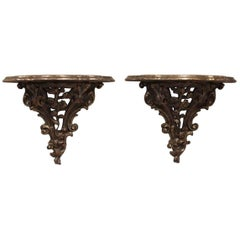 Pair of Carved Wall Brackets, circa 1920s