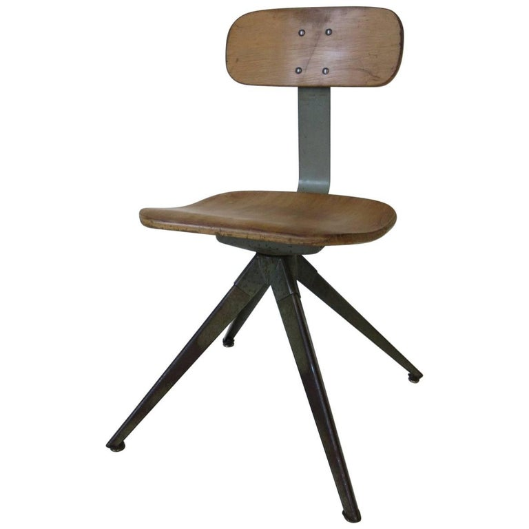 Splayed Leg Industrial Desk Chair in the Style of Prouve or Olsen