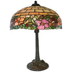 Peony Leaded Slag Glass Table Lamp #523 by Wilkinson
