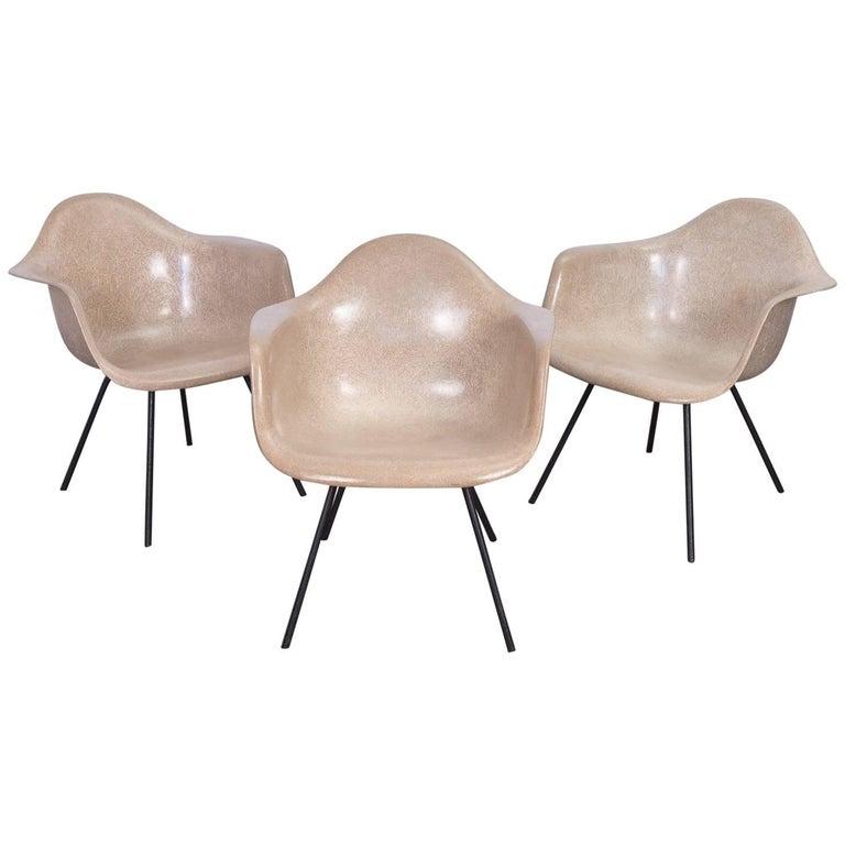 Second Generation Greige Eames Fiberglass Armshell Chair