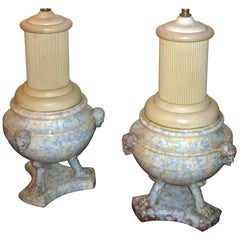 19th Century Italian Spongeware Urn Lamp, Pair