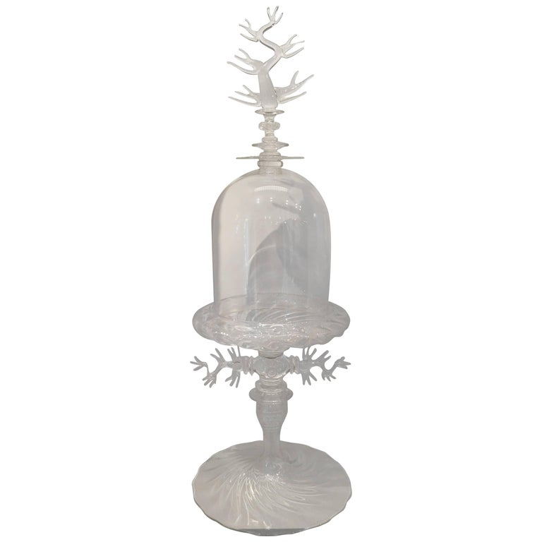 Extra Large Handblown Clear Glass Bell Jar with Coral Design