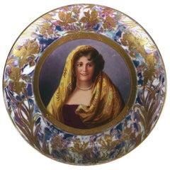Antique Royal Vienna Austria Porcelain Portrait Plate Signed Ferdi, 19th Century