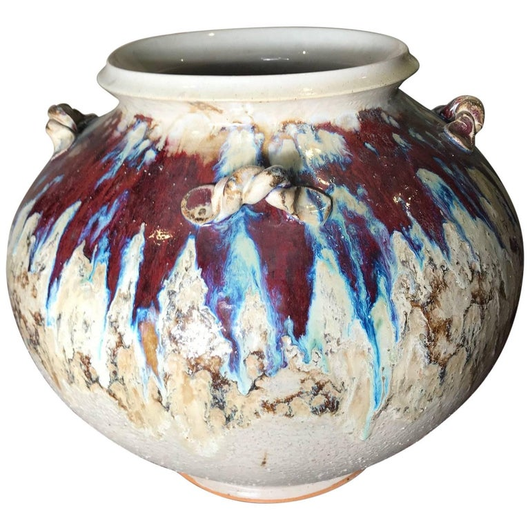 Japan Big Richly Glazed Hand Thrown Ceramic Handled Pot Shigaraki Kiln For Sale