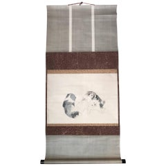 Japan Pair Lovable Puppies Antique Hand-Painted Scroll