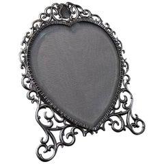 Edwardian Silver Heart Shaped Photograph Frame