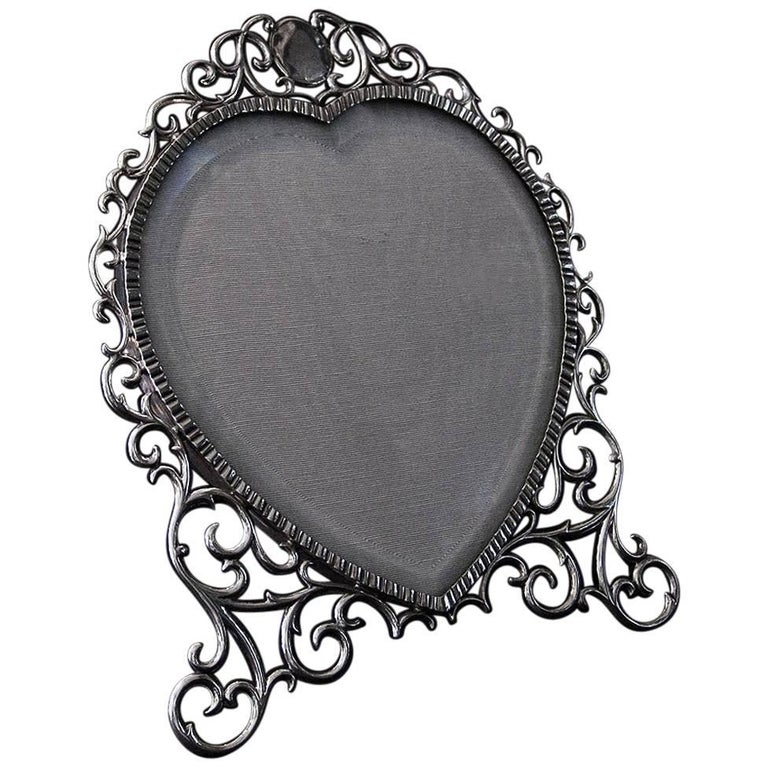 Edwardian Silver Heart Shaped Photograph Frame For Sale At 1stdibs