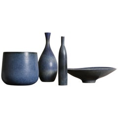 Carl-Harry Stålhane, Blue Collection of Four Vessels, Rörstrand Ab, 1950s