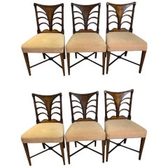 Set of Six English Regency Dining Chairs with Fine Inlay, 19th Century