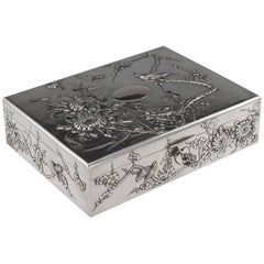 20th Century Chinese Solid Silver Decorative Jewellery Box, Tuck Chang, 1900