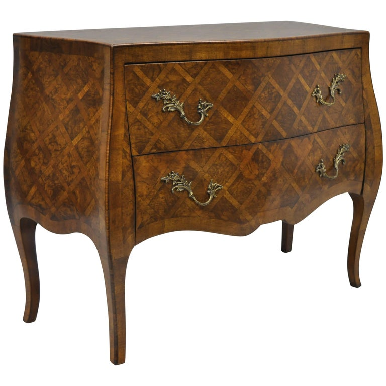 Italian Bombe Commode Chest Parquetry Inlaid French Louis XV Style For Sale