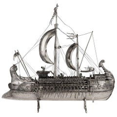Antique German Monumental Solid Silver Persian Trireme Ship, circa 1900