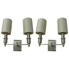 Pair of Neoclassical Brushed Stainless Sconces