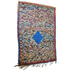 Moroccan Vintage Hand Loomed Boucherouite Rug, Atlas Mountains