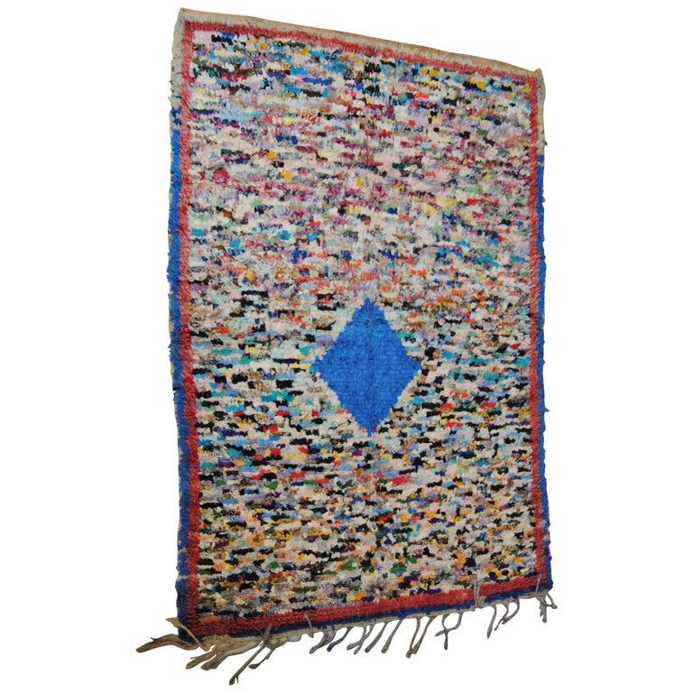 Moroccan Vintage Hand Loomed Boucherouite Rug, Atlas