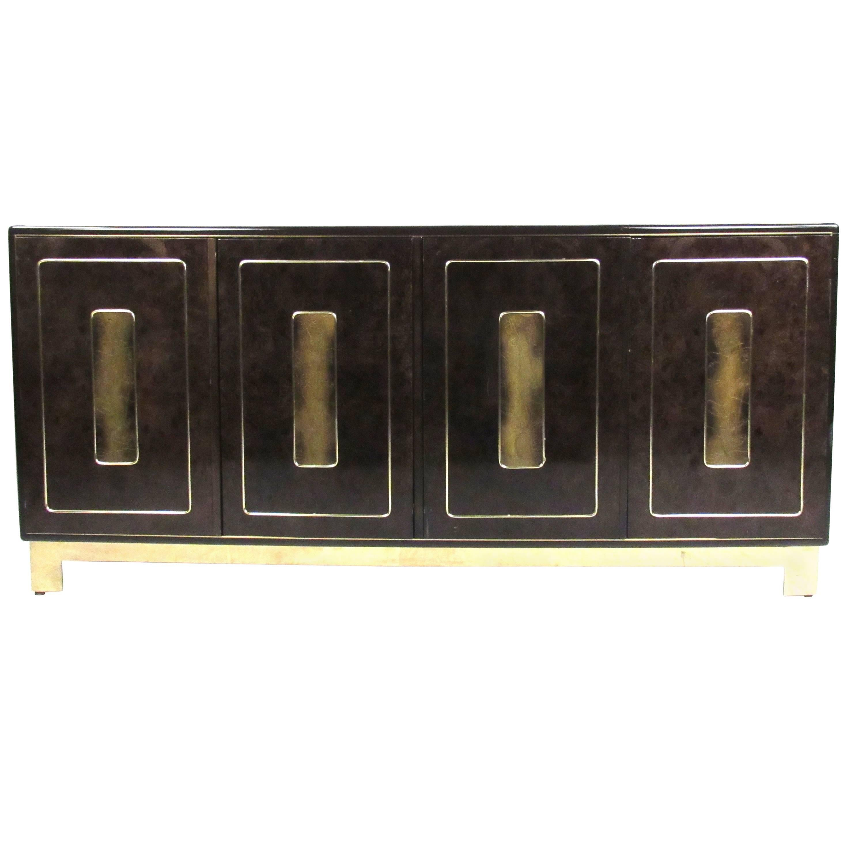 Vintage Modern Burl and Brass Acid Etched Dresser by Bernhard Rohne